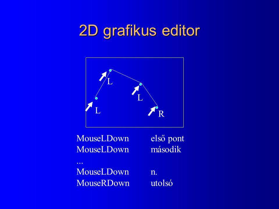 2D grafikus editor L L L R MouseLDown első pont MouseLDown második ...