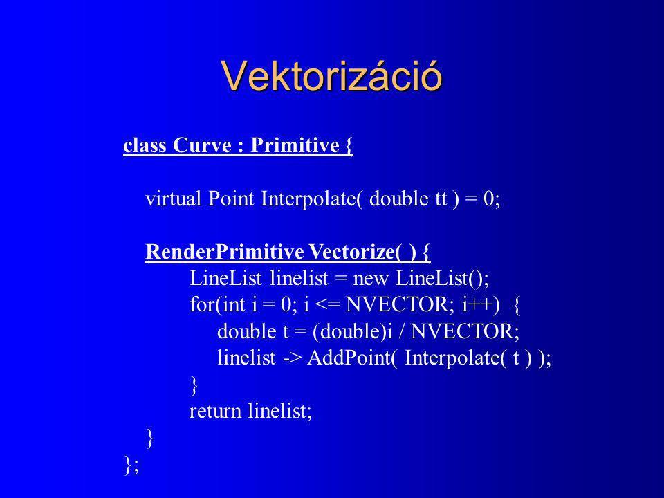 Vektorizáció class Curve : Primitive {