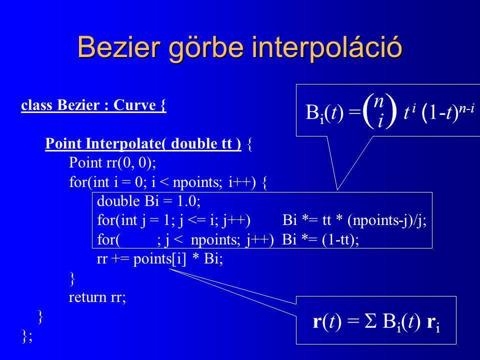 Bezier görbe interpoláció