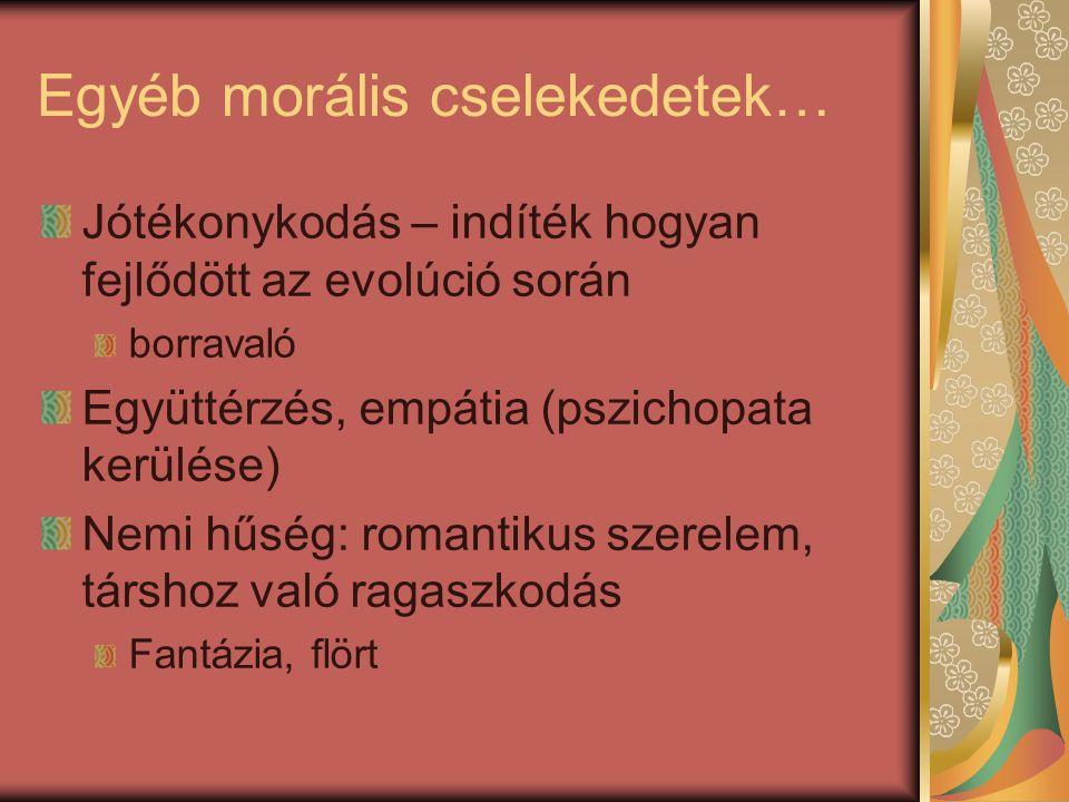Egyéb morális cselekedetek…