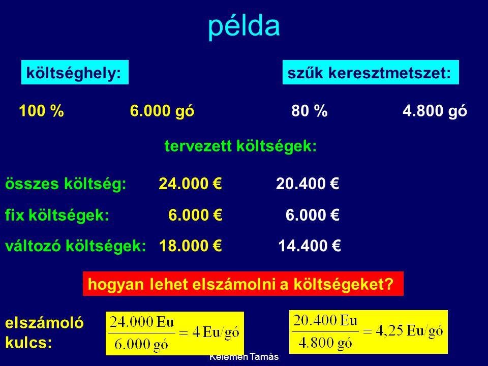 példa költséghely: szűk keresztmetszet: 100 % 6.000 gó 80 % 4.800 gó