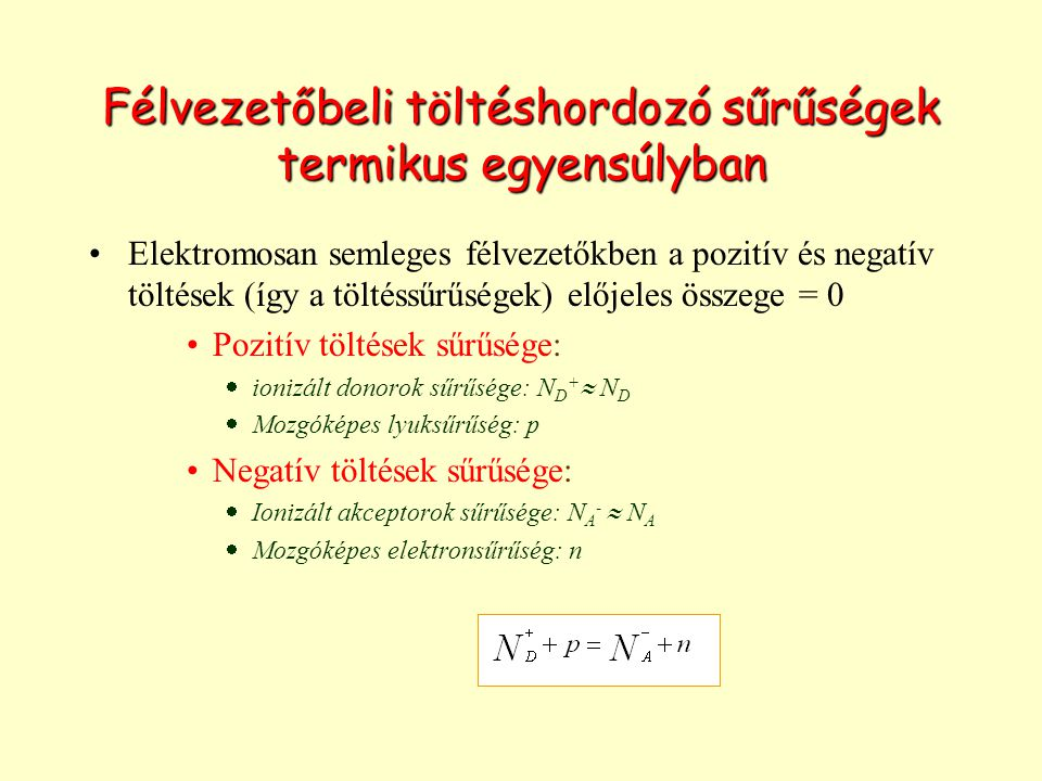Félvezetőbeli töltéshordozó sűrűségek termikus egyensúlyban