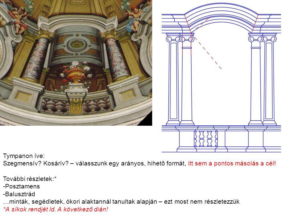 Tympanon íve: Szegmensív Kosárív – válasszunk egy arányos, hihető formát, itt sem a pontos másolás a cél!