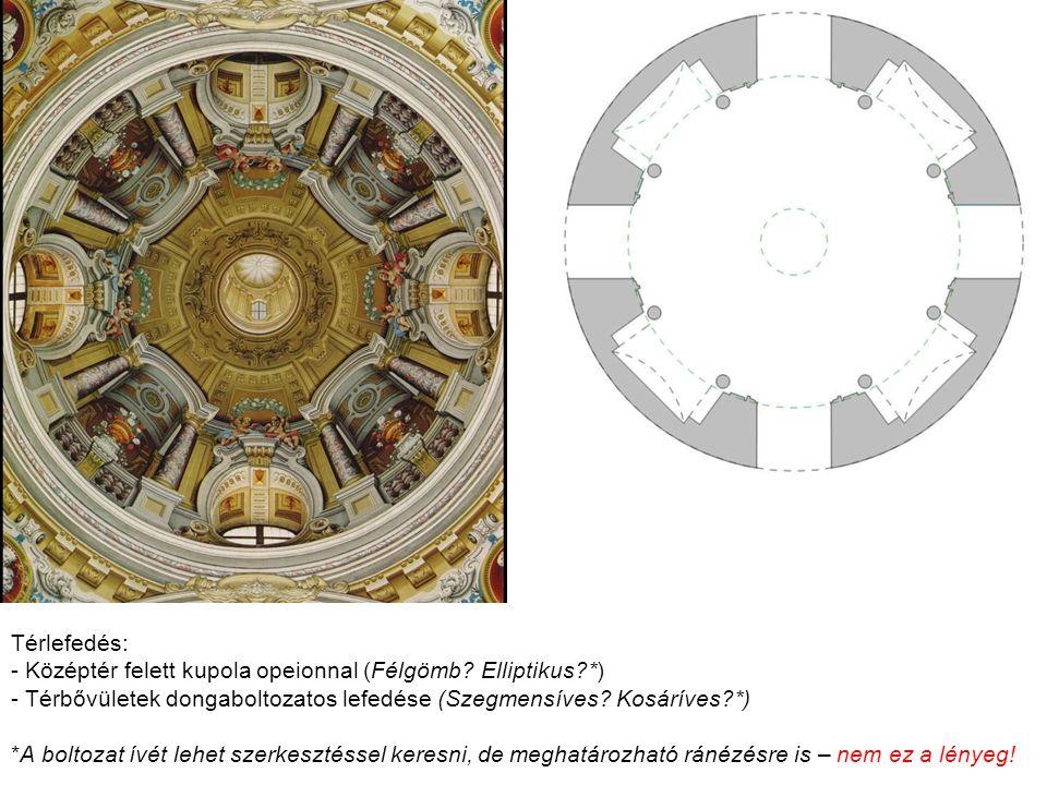 Térlefedés: Középtér felett kupola opeionnal (Félgömb Elliptikus *) Térbővületek dongaboltozatos lefedése (Szegmensíves Kosáríves *)