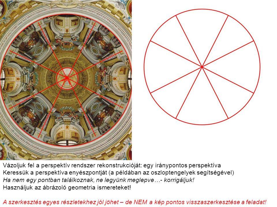 Vázoljuk fel a perspektív rendszer rekonstrukcióját: egy iránypontos perspektíva