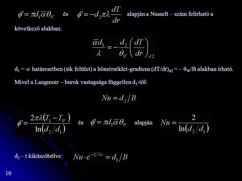 és alapján a Nusselt – szám felírható a következő alakban: