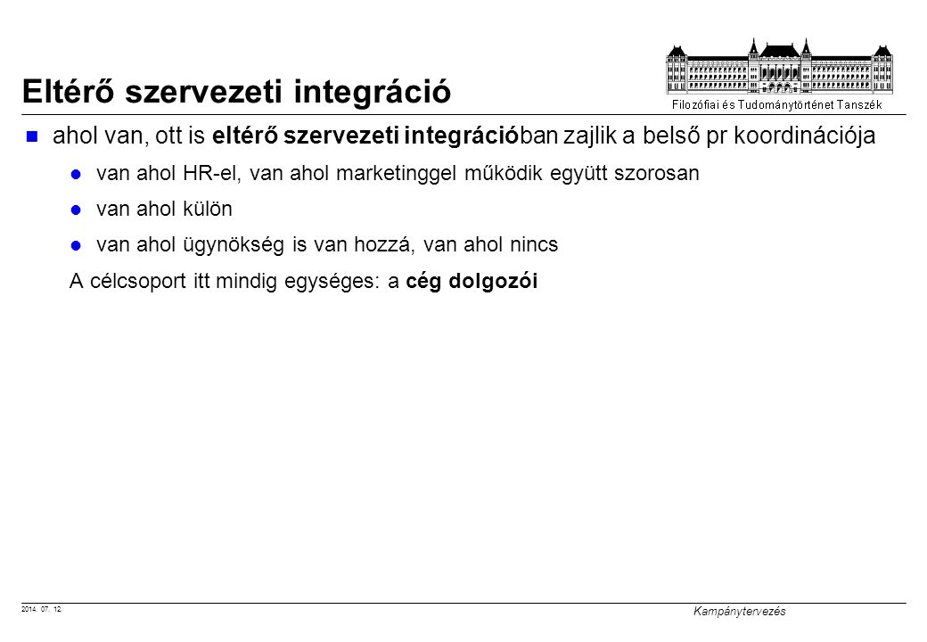 Eltérő szervezeti integráció