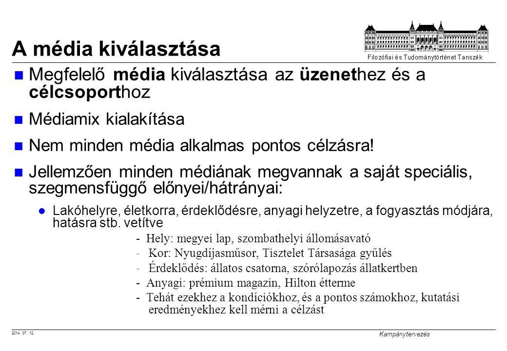 A média kiválasztása Megfelelő média kiválasztása az üzenethez és a célcsoporthoz. Médiamix kialakítása.