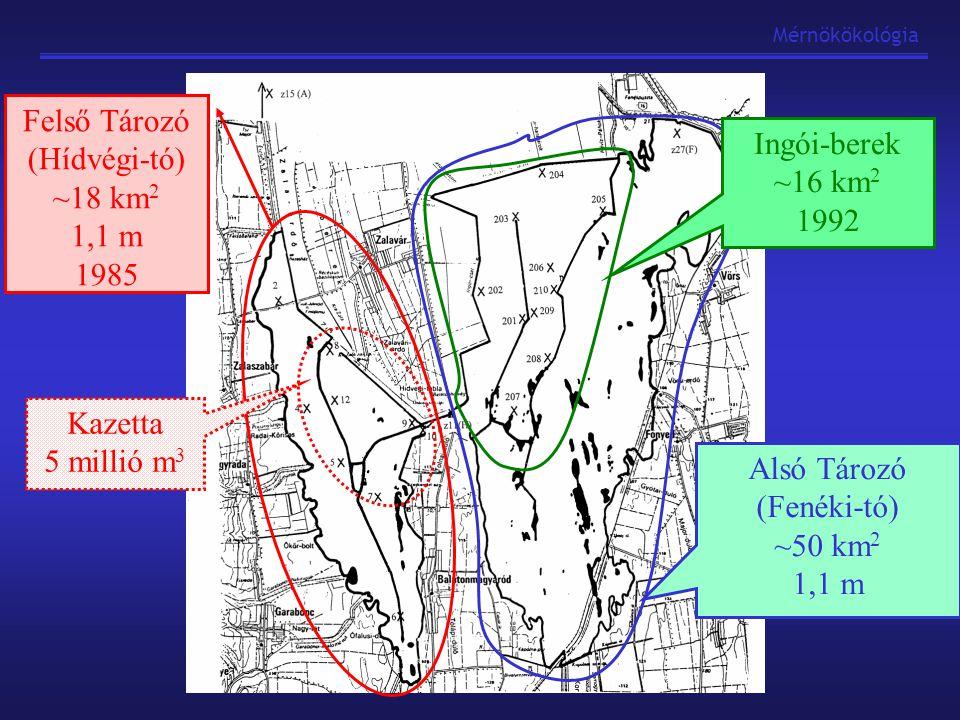 Felső Tározó (Hídvégi-tó) ~18 km2 1,1 m 1985 Ingói-berek ~16 km2 1992
