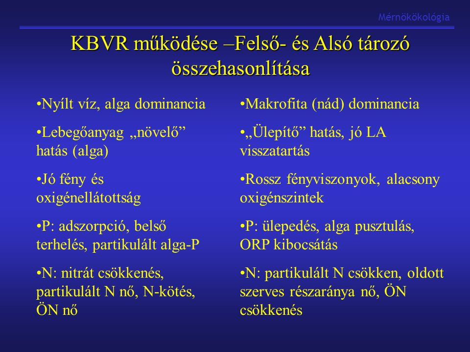 KBVR működése –Felső- és Alsó tározó összehasonlítása