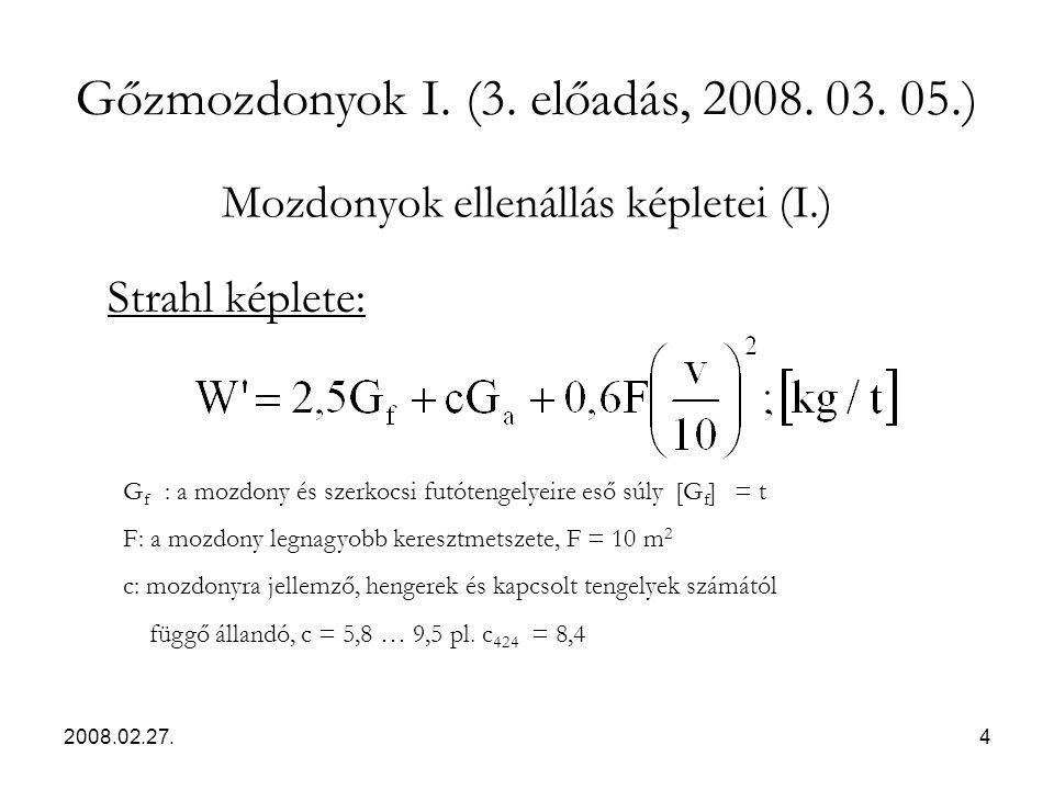 Mozdonyok ellenállás képletei (I.)