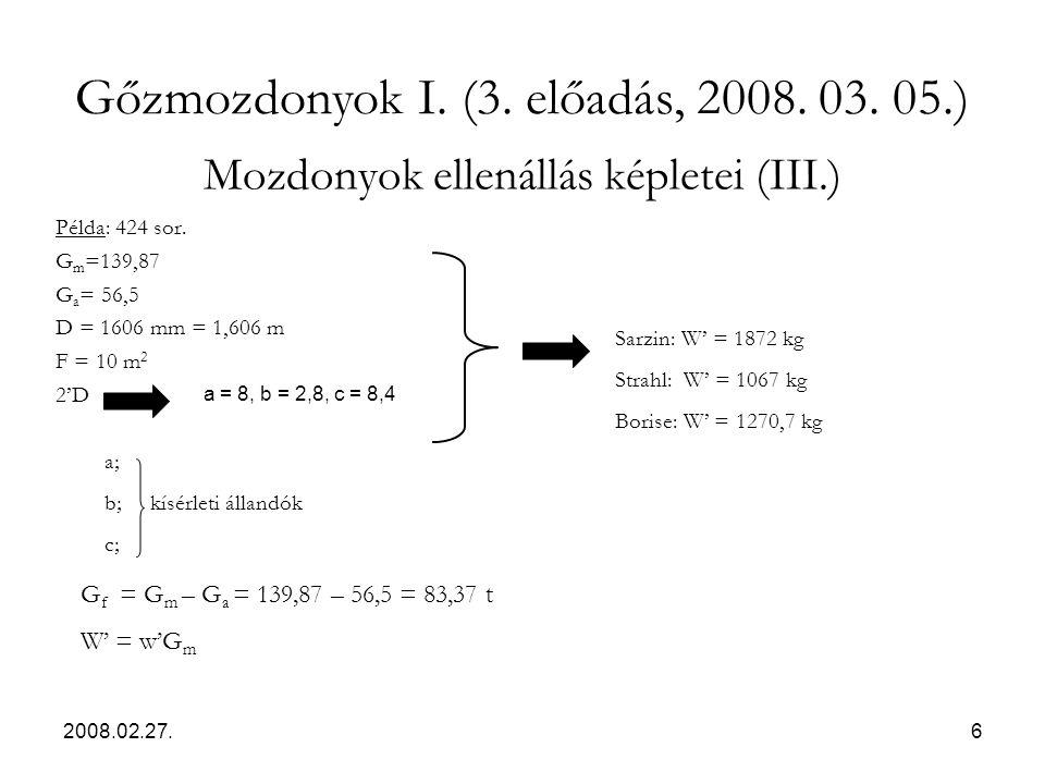 Mozdonyok ellenállás képletei (III.)