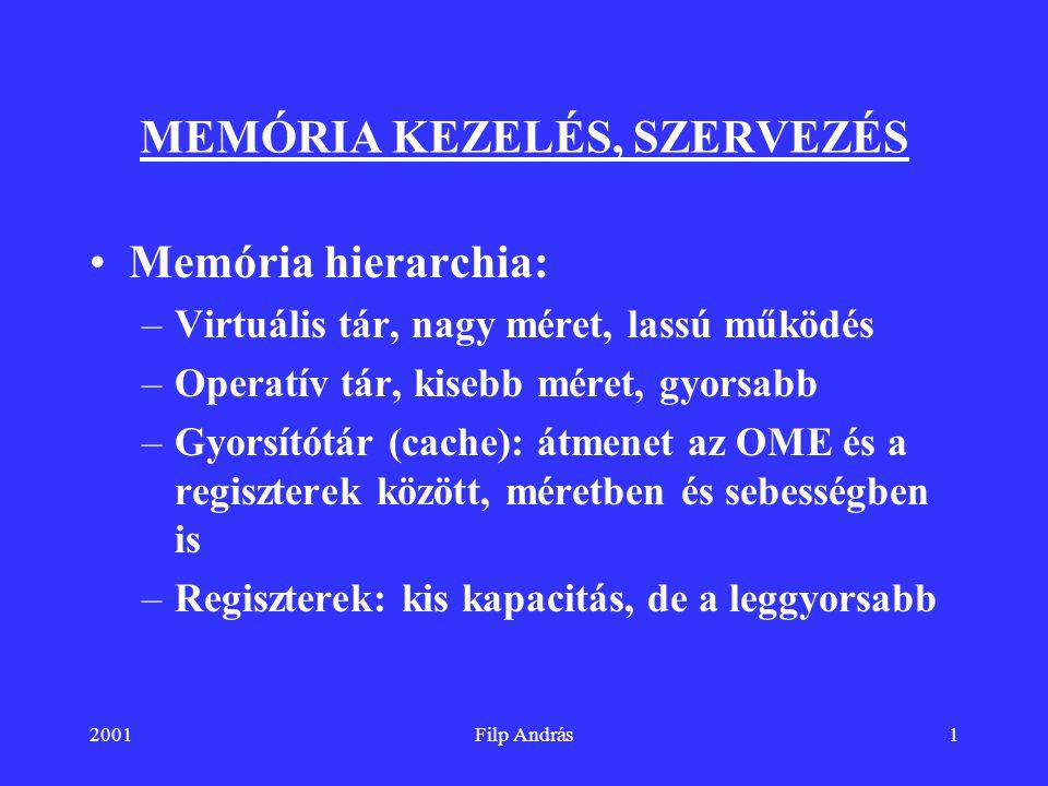 MEMÓRIA KEZELÉS, SZERVEZÉS
