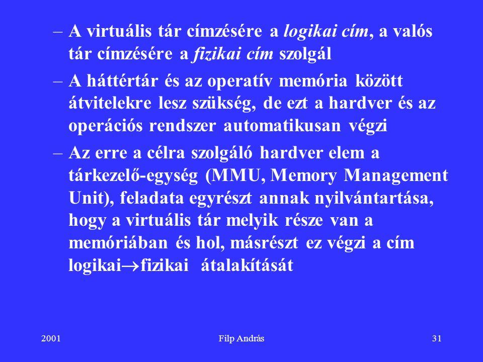 A virtuális tár címzésére a logikai cím, a valós tár címzésére a fizikai cím szolgál