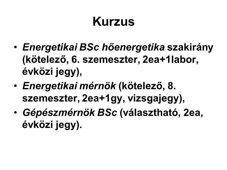 Kurzus Energetikai BSc hőenergetika szakirány (kötelező, 6. szemeszter, 2ea+1labor, évközi jegy),