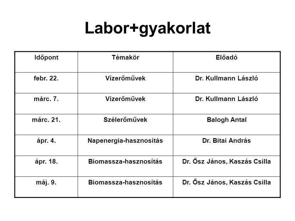 Labor+gyakorlat Időpont Témakör Előadó febr. 22. Vízerőművek