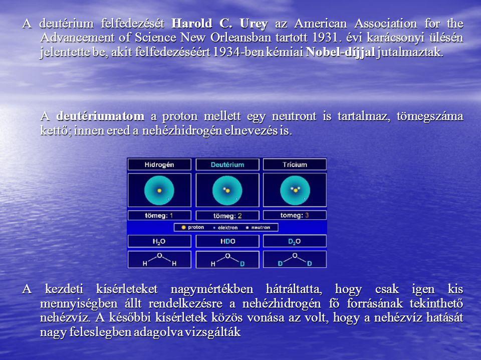 A deutérium felfedezését Harold C