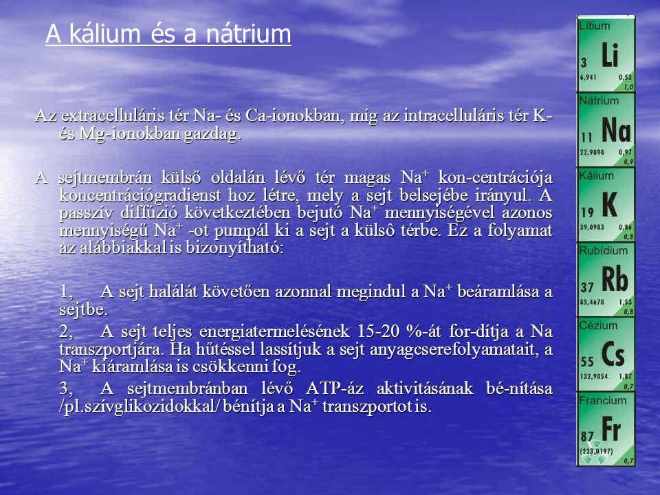 A kálium és a nátrium Az extracelluláris tér Na- és Ca-ionokban, míg az intracelluláris tér K- és Mg-ionokban gazdag.
