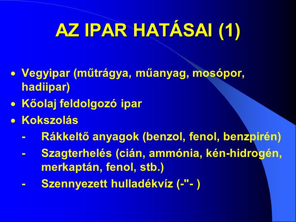 AZ IPAR HATÁSAI (1) Vegyipar (műtrágya, műanyag, mosópor, hadiipar)
