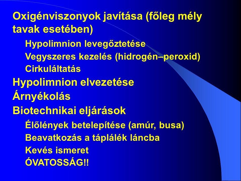 Oxigénviszonyok javítása (főleg mély tavak esetében)