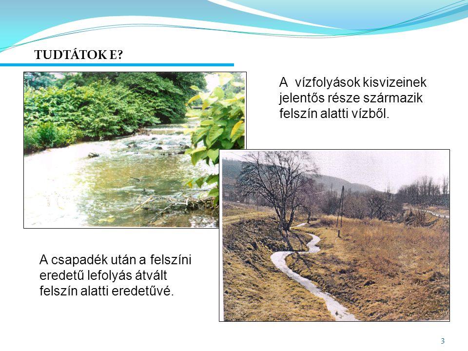 TUDTÁTOK E A vízfolyások kisvizeinek jelentős része származik felszín alatti vízből.