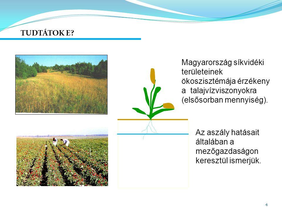 TUDTÁTOK E Magyarország síkvidéki területeinek ökoszisztémája érzékeny a talajvízviszonyokra (elsősorban mennyiség).