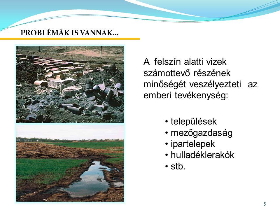 PROBLÉMÁK IS VANNAK… A felszín alatti vizek számottevő részének minőségét veszélyezteti az emberi tevékenység:
