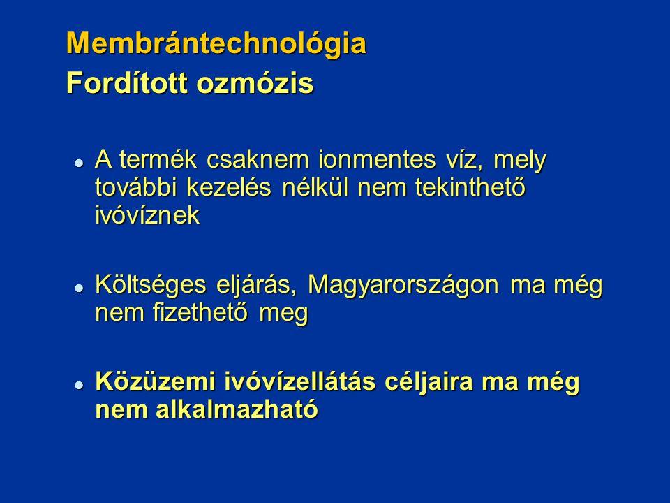 Membrántechnológia Fordított ozmózis