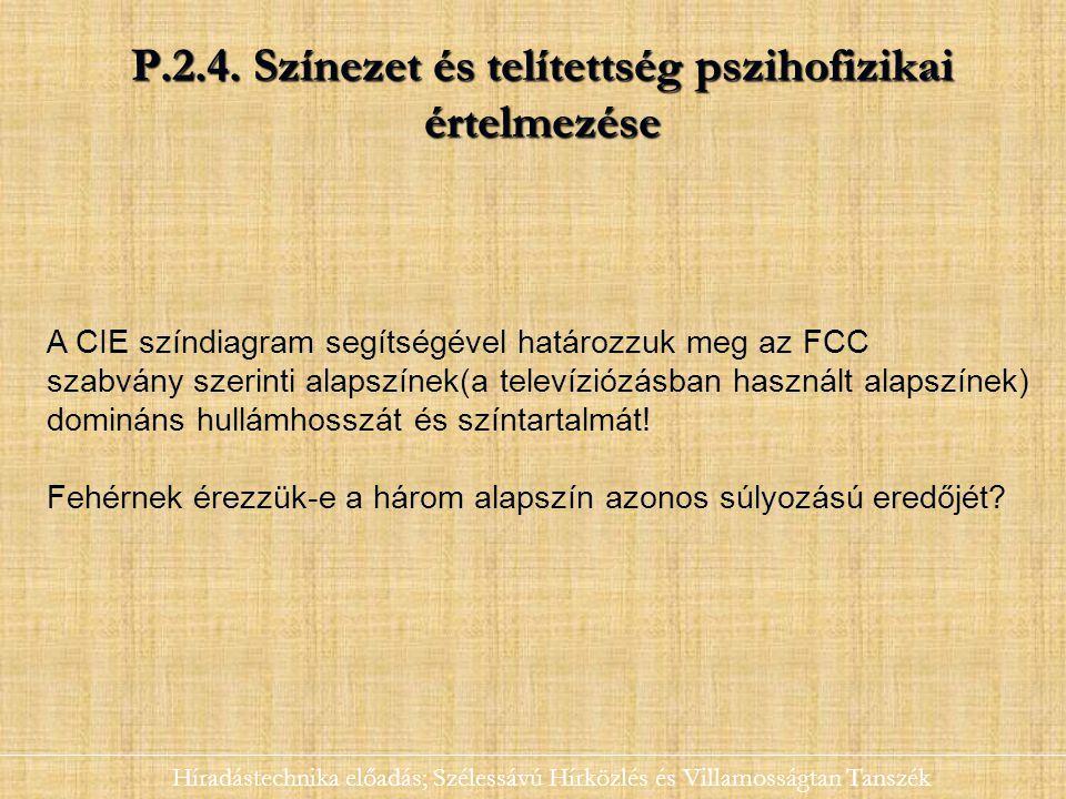 P.2.4. Színezet és telítettség pszihofizikai értelmezése