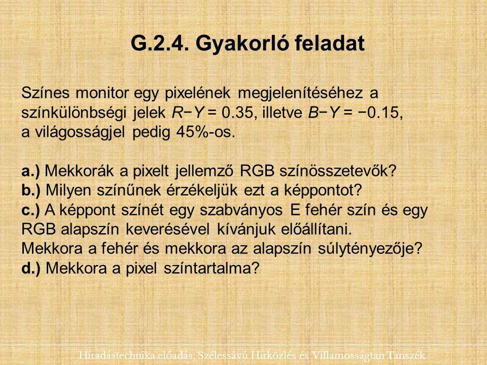 G.2.4. Gyakorló feladat Színes monitor egy pixelének megjelenítéséhez a. színkülönbségi jelek R−Y = 0.35, illetve B−Y = −0.15,