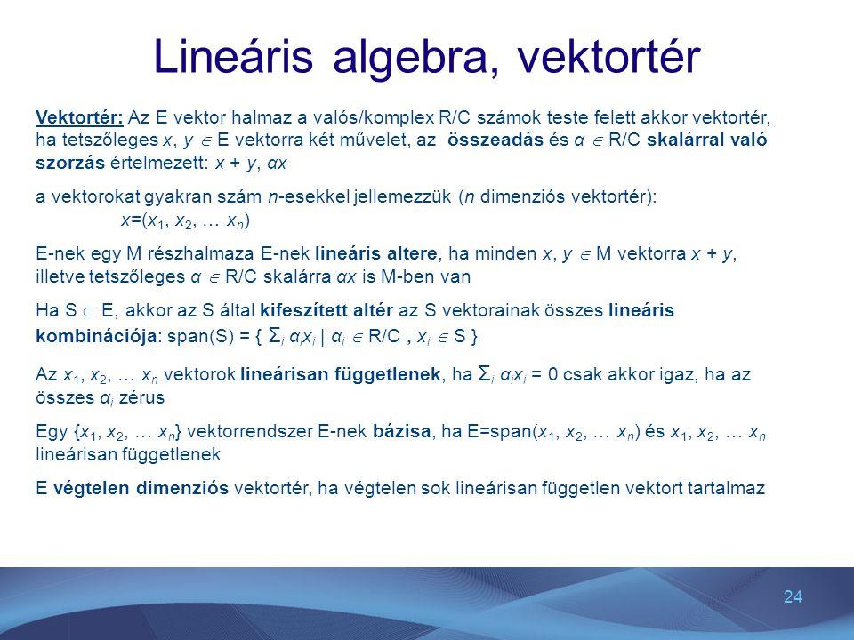 Lineáris algebra, vektortér