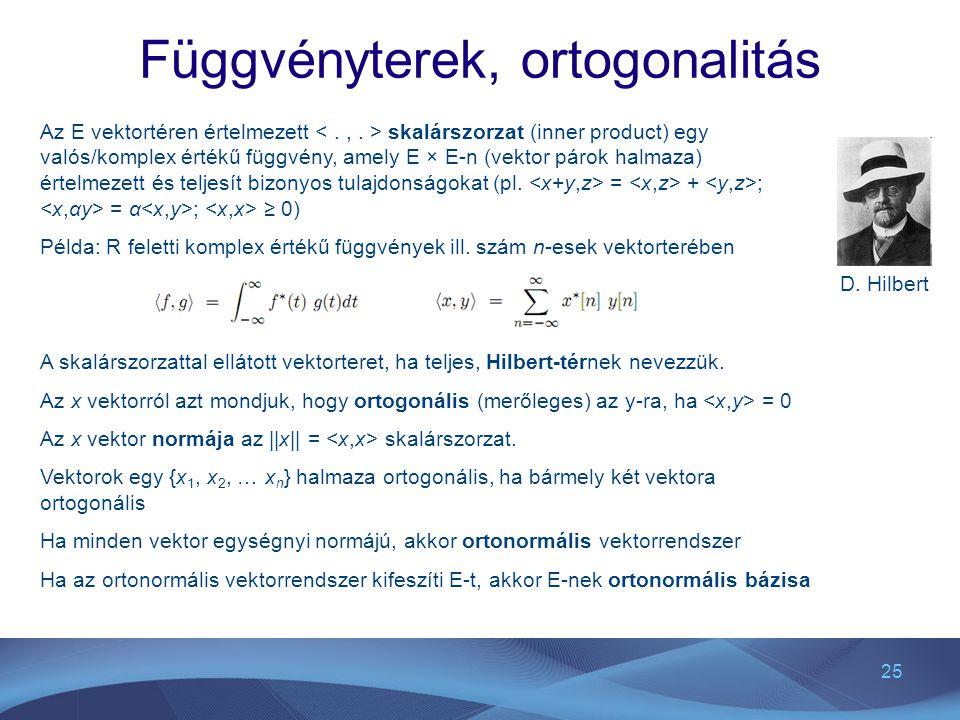 Függvényterek, ortogonalitás