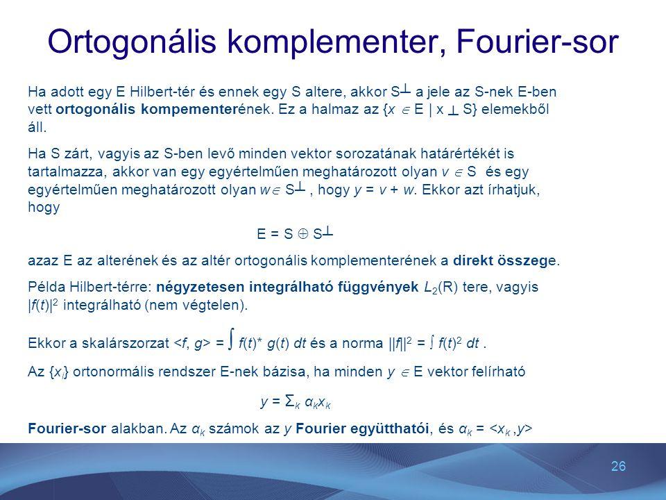 Ortogonális komplementer, Fourier-sor