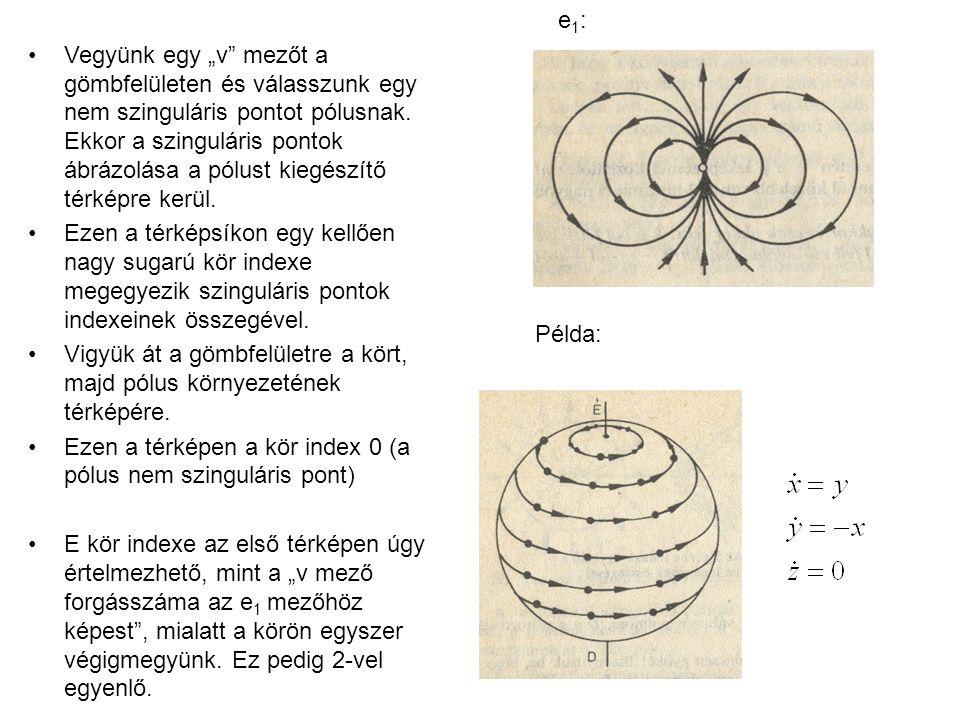 """Vegyünk egy """"v mezőt a gömbfelületen és válasszunk egy nem szinguláris pontot pólusnak. Ekkor a szinguláris pontok ábrázolása a pólust kiegészítő térképre kerül."""