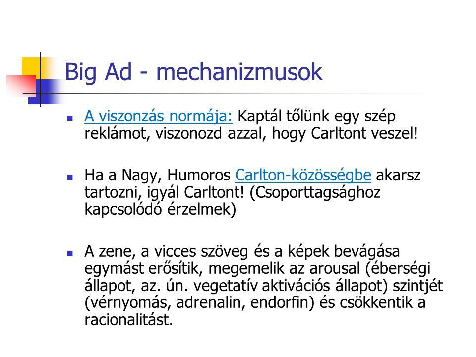 Big Ad - mechanizmusok A viszonzás normája: Kaptál tőlünk egy szép reklámot, viszonozd azzal, hogy Carltont veszel!