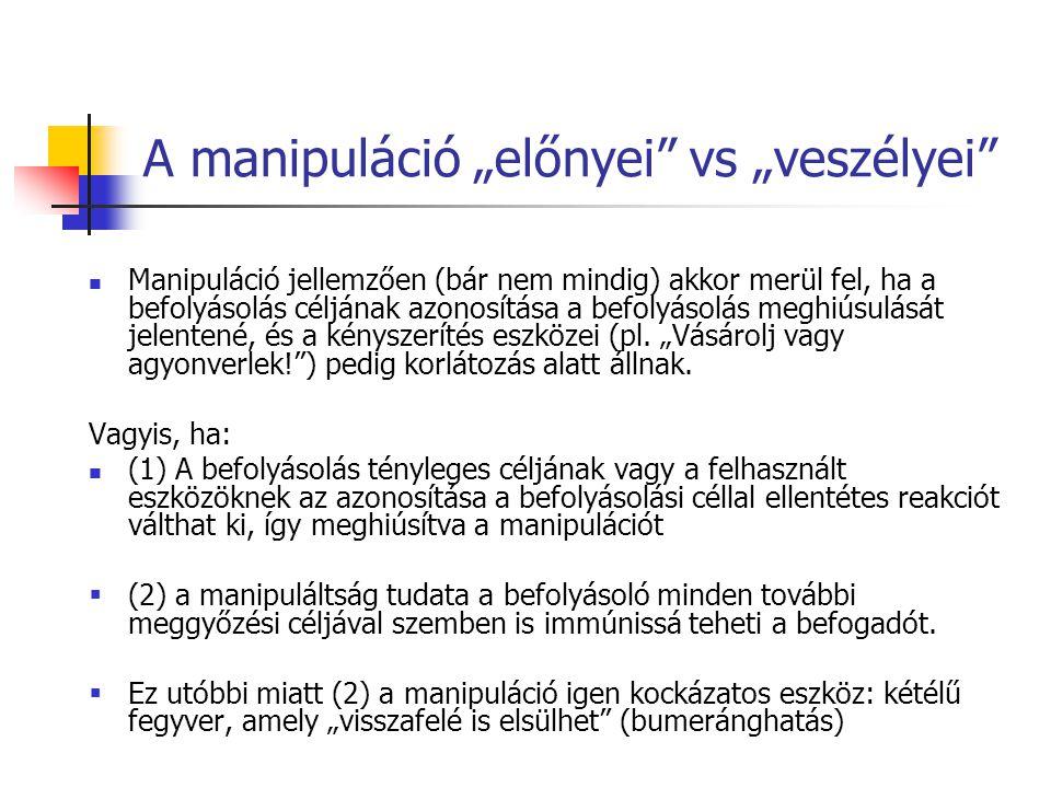 """A manipuláció """"előnyei vs """"veszélyei"""
