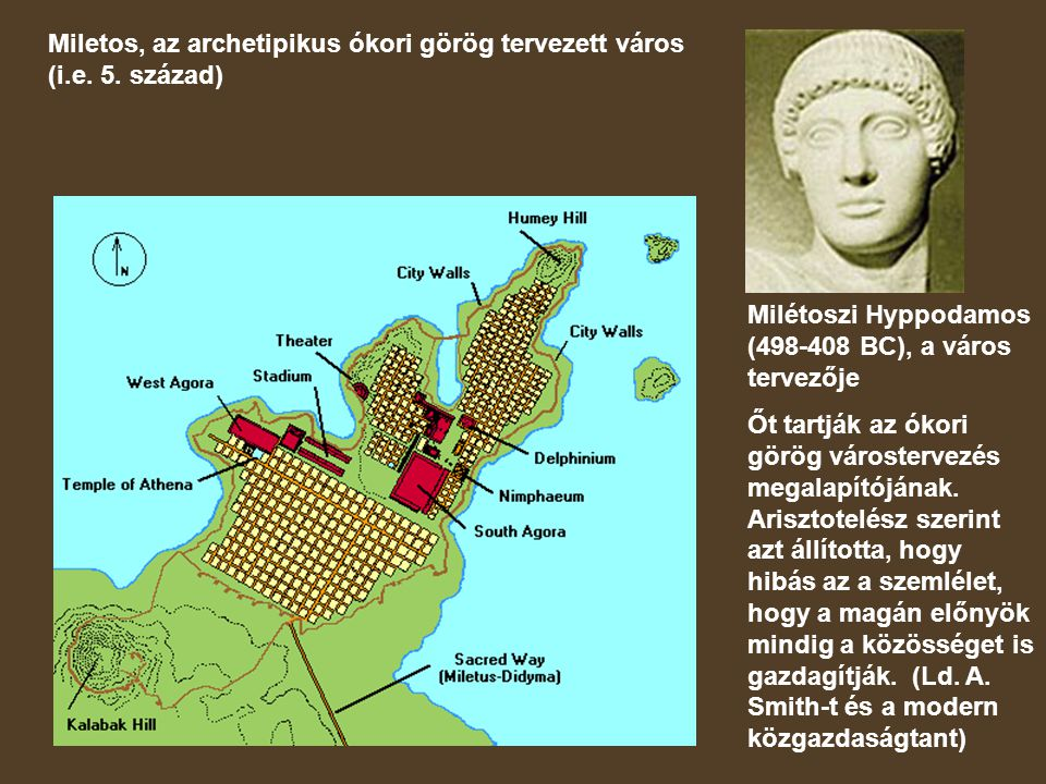 Miletos, az archetipikus ókori görög tervezett város (i.e. 5. század)