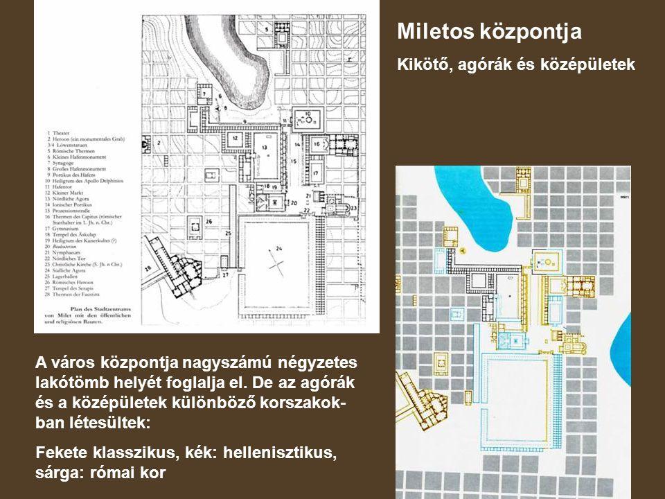 Miletos központja Kikötő, agórák és középületek