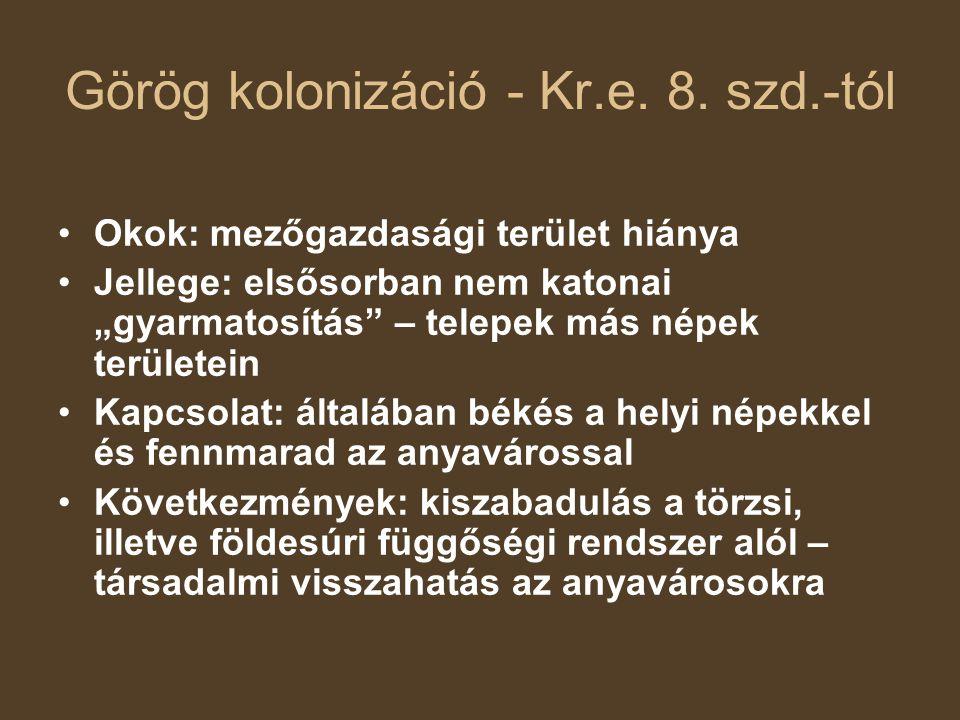 Görög kolonizáció - Kr.e. 8. szd.-tól