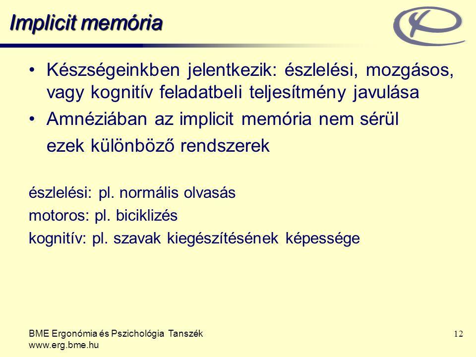 Implicit memória Készségeinkben jelentkezik: észlelési, mozgásos, vagy kognitív feladatbeli teljesítmény javulása.