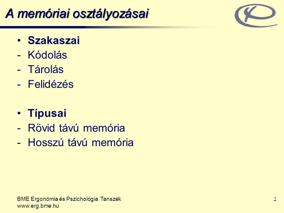 A memóriai osztályozásai