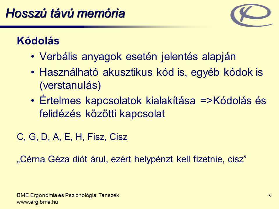 Hosszú távú memória Kódolás Verbális anyagok esetén jelentés alapján