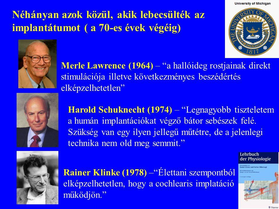 Néhányan azok közül, akik lebecsülték az implantátumot ( a 70-es évek végéig)