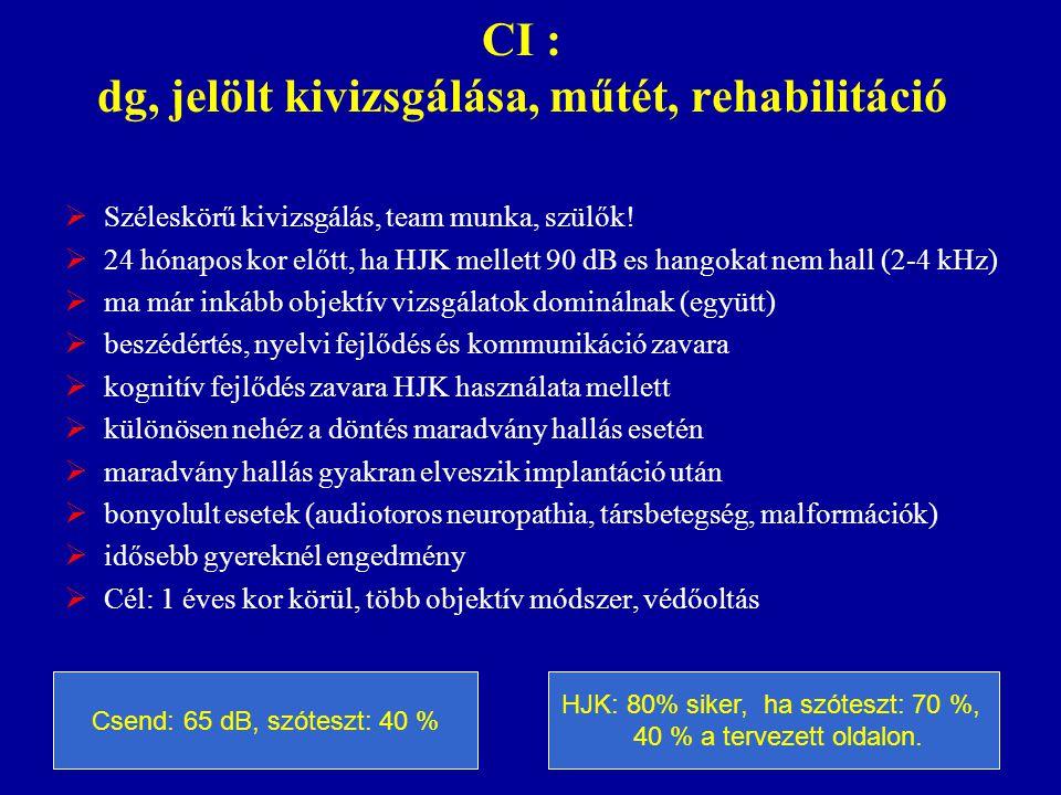 CI : dg, jelölt kivizsgálása, műtét, rehabilitáció