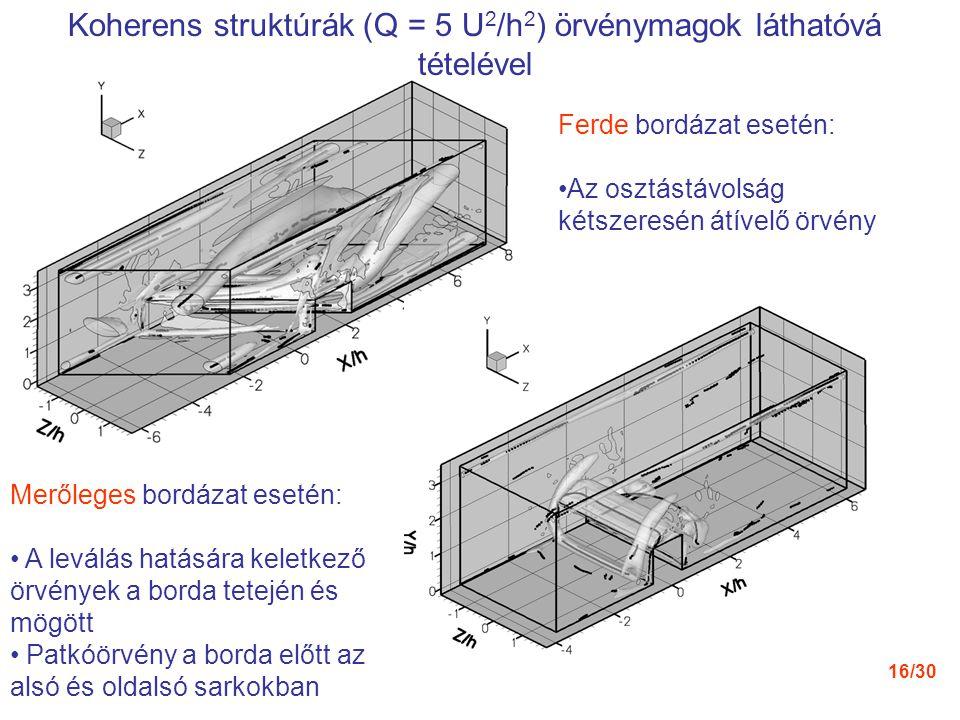 Koherens struktúrák (Q = 5 U2/h2) örvénymagok láthatóvá tételével