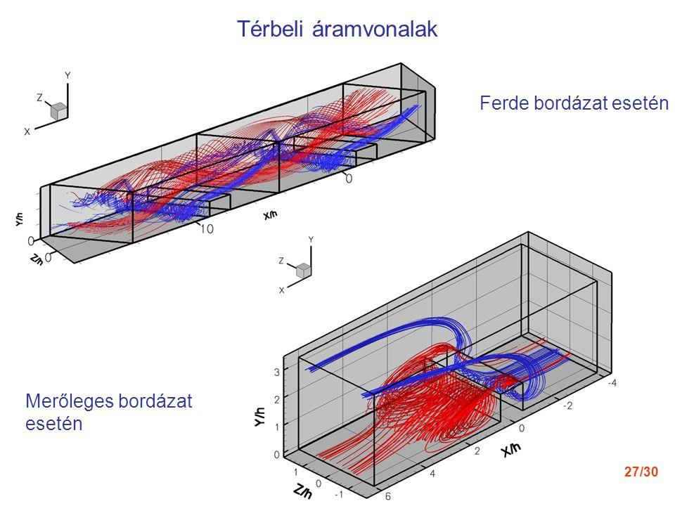 Térbeli áramvonalak Ferde bordázat esetén Merőleges bordázat esetén
