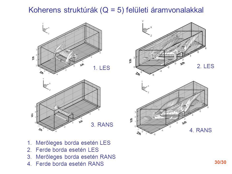 Koherens struktúrák (Q = 5) felületi áramvonalakkal