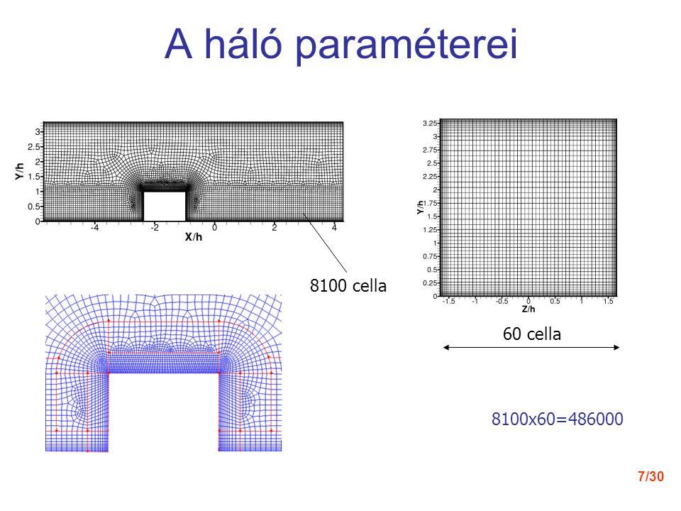 A háló paraméterei 8100 cella 60 cella 8100x60=486000