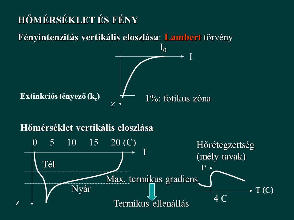 Fényintenzitás vertikális eloszlása: Lambert törvény I0