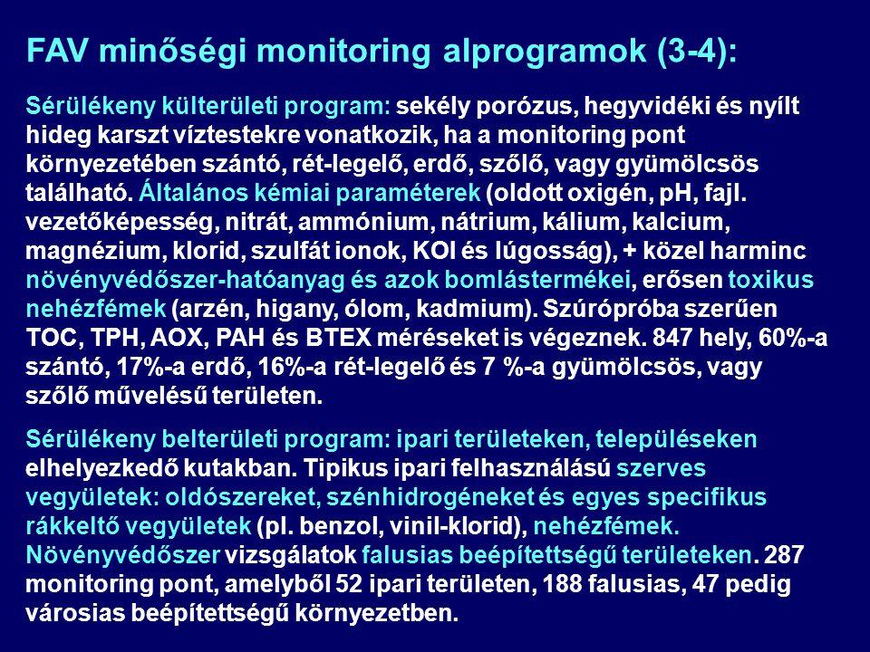 FAV minőségi monitoring alprogramok (3-4):